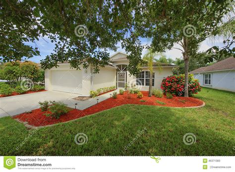 new landscaping florida small clean home with fresh new landscaping stock photo image 46371383