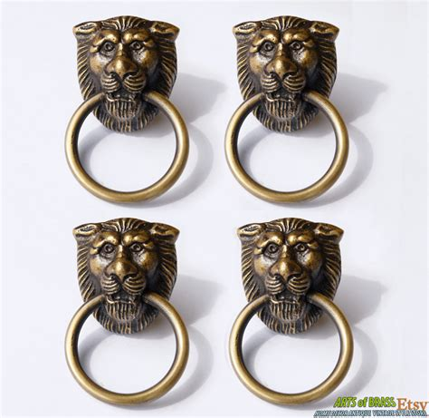 antique cabinet handles nz lot of 4 pcs antique lion head small solid brass round cabinet
