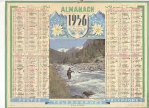 Calendrier De 1956 Calendrier Almanach Ptt Annee 1956 Pecheur De Truites