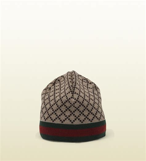 gucci knit hat gucci diamante pattern knit hat with web detail in brown