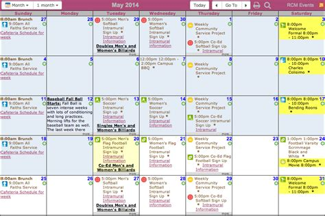 college calendar multiple departments