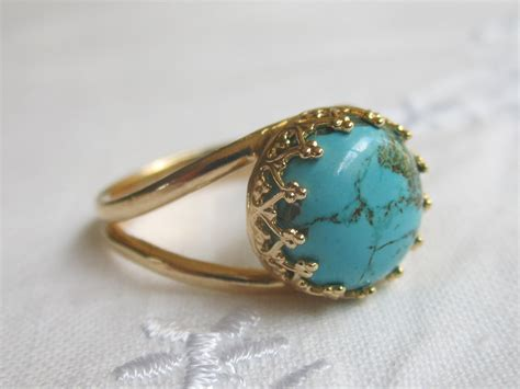 turquoise ring 14k gold ring 10 mm by eldortinajewelry