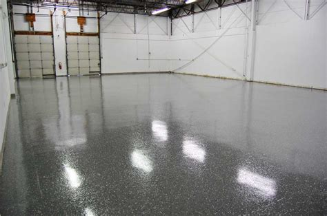 dark gray epoxy floor  black marble flakes warehouse