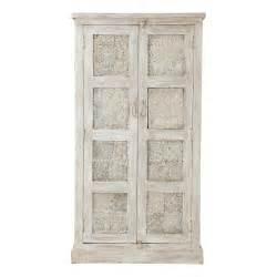 armoire en manguier blanche effet vieilli l 90 cm taj