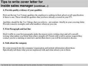 Cover Letter Inside Sales by Inside Sales Manager Cover Letter