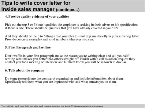 inside sales manager cover letter