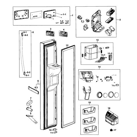 samsung refrigerator parts diagram left door diagram parts list for model rs267tdwpxaa0000