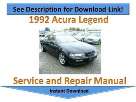 best car repair manuals 1992 acura legend lane departure warning 1992 acura legend repair manual youtube