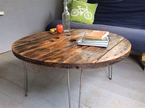 reclaimed wooden spool coffee table