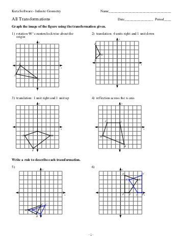 Dilations Worksheet Kuta by Kuta Math Worksheets Probability Translations Worksheets