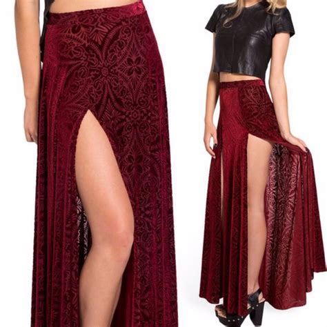 two sides high slit pleated maxi skirt on luulla