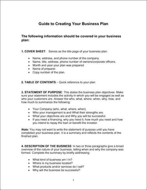 Simple Business Plan Outline Template