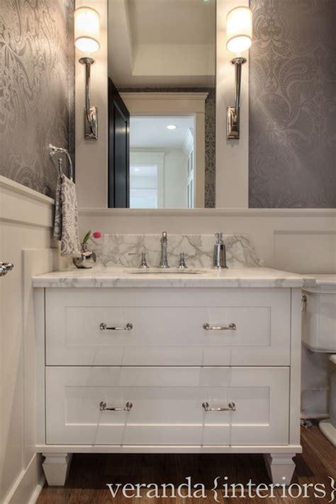veranda interiors metallic damask wallpaper traditional bathroom