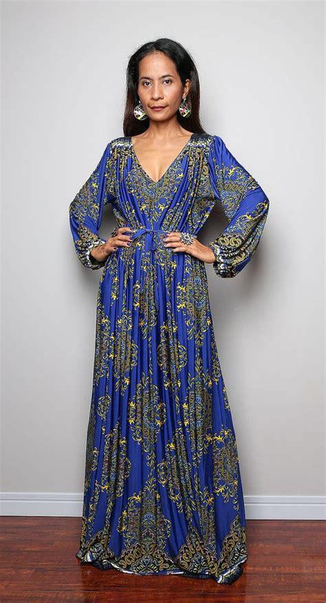 Maxi Shifa Blue Asli Dhabi blue boho maxi dress sleeved dress with trendy print funky collection my