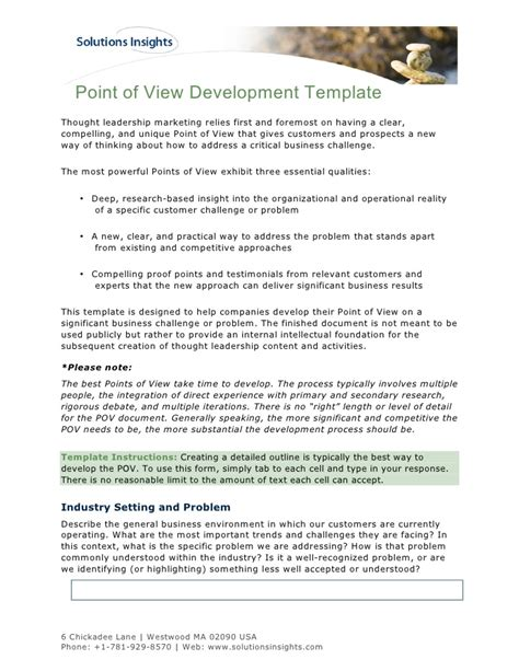 point of view development template