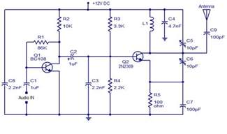 fm transmitter with two transistors circuit diagram