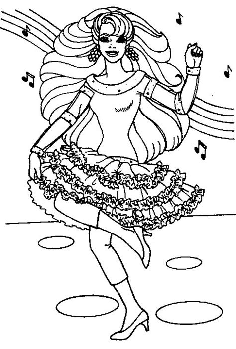 dancing  singing barbie coloring pages kids coloring
