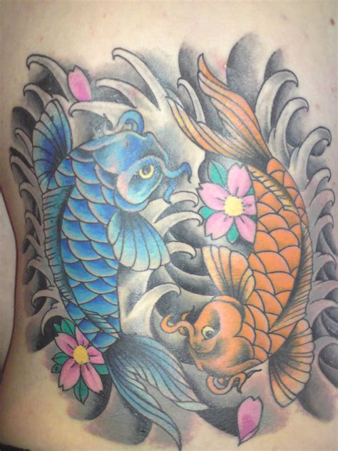 tattoo koi yin yang yin and yang koi fish tattoo by sparxthemosh on deviantart
