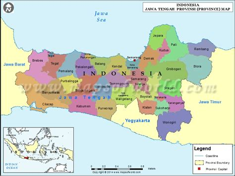 jawa tengah map map  jawa tengah province indonesia