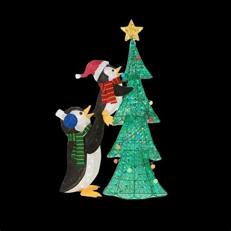 home accents holiday 62 in led lighted tinsel penguins