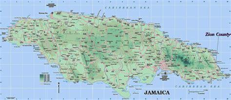 physical map of jamaica large detailed road and physical map of jamaica jamaica