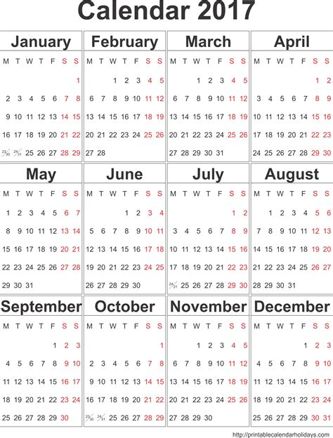 free printable yearly calendars 2017 2017 yearly calendar archives printable 2017 calendar