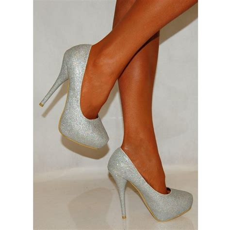 High Heels Gliter Silver chatter box dok37 silver glitter high heels chatter box from shoe closet uk