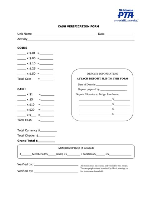 cash verification form oklahoma pta printable