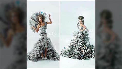 Baju Daur Ulang Untuk Pria gaun gaun cantik yang terbuat dari koran bekas dan lakban