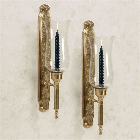 Hurricane Wall Sconce Macario Satin Brass Hurricane Sconce Pair