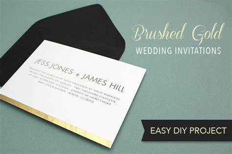 free diy brushed gold wedding invitation template free