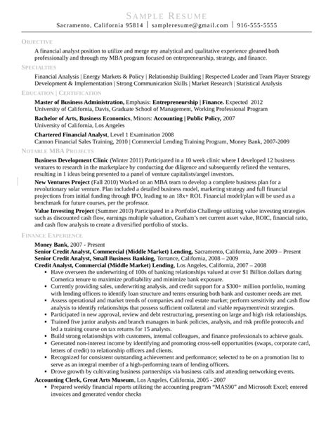 resume template for mba application combination credit analyst resume template