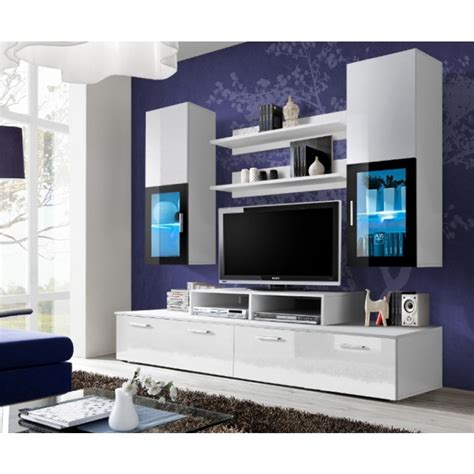 modern black entertainment center white high gloss wall unit toledo 1 concept muebles