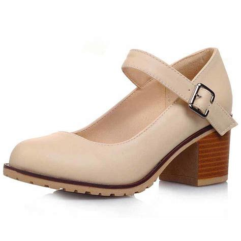 beige retro leather buckle slip  heel dress shoe