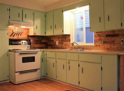 Wood Kitchen Backsplash Pallet Backsplash Kitchens Galore Green Cabinets Cabinets And Kitchen Back Splashes