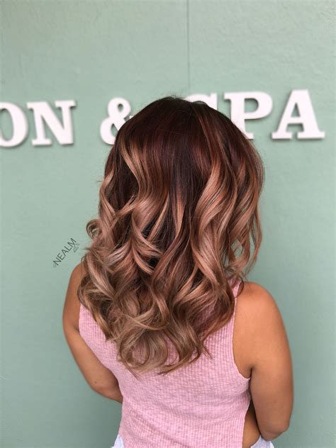 brunette to rose gold hair rose gold balayage ombr 233 hair painting by nealmhair