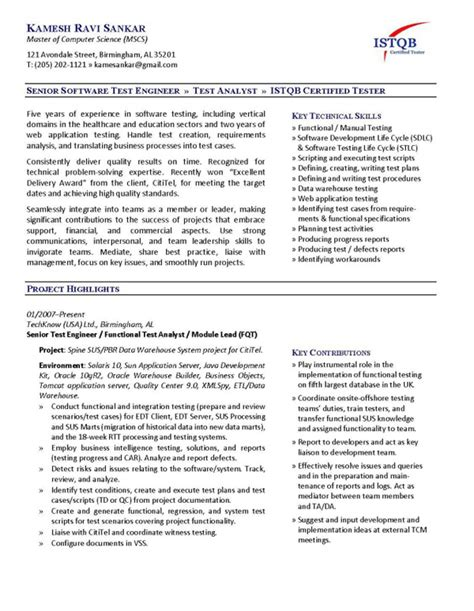 software test engineer resume exle the australian employment guide