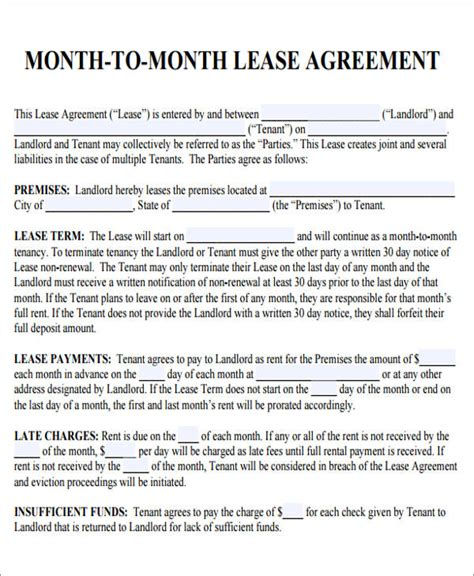 7 Sle Roommate Rental Agreement Forms Sle Templates Month To Month Lease Agreement Template