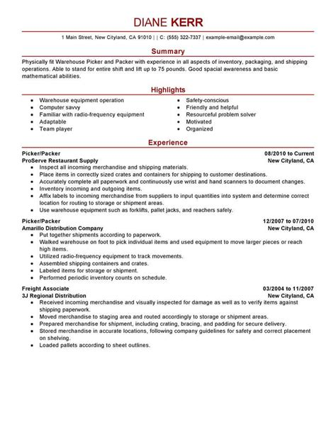 impressive picker packer resume sle packing resume sle sanitizeuv sle resume and templates