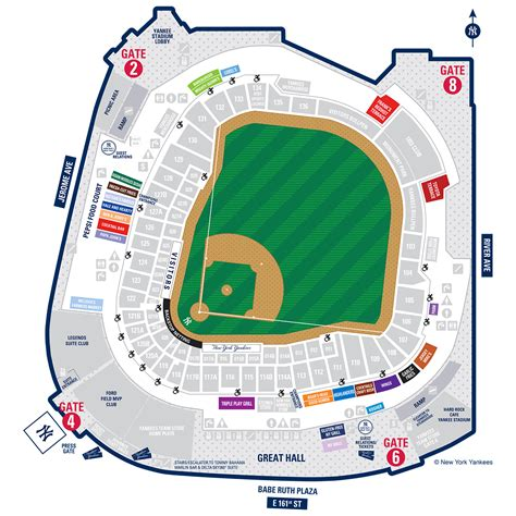 yankee stadium seating chart view section yankee stadium map new york yankees