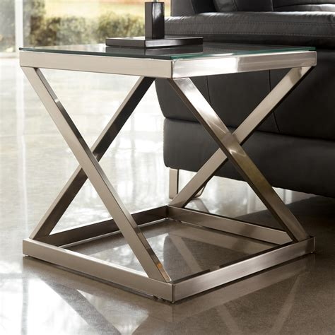 metal accent table with glass top coylin brushed metal square end table with clear tempered