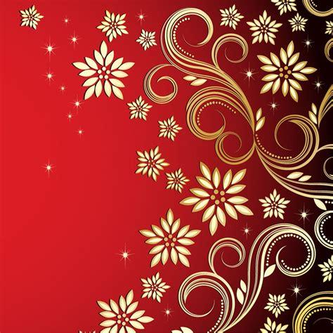 background design red color bronze floral design on red background free vector