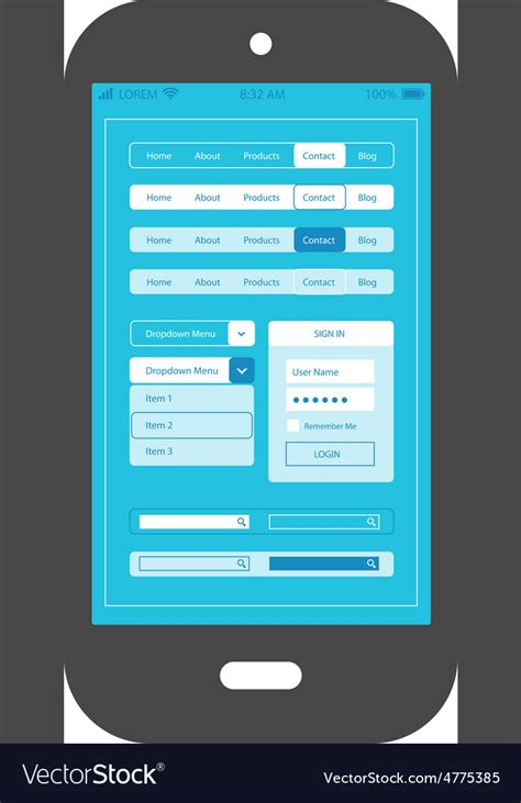 Flat Ui Design Smartphone Mobile App Template Vector Image App Review Template