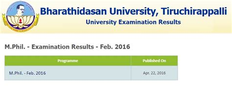 Bharathidasan Mba Results 2016 by Bharathidasan M Phil Results 2016 Indiaresults