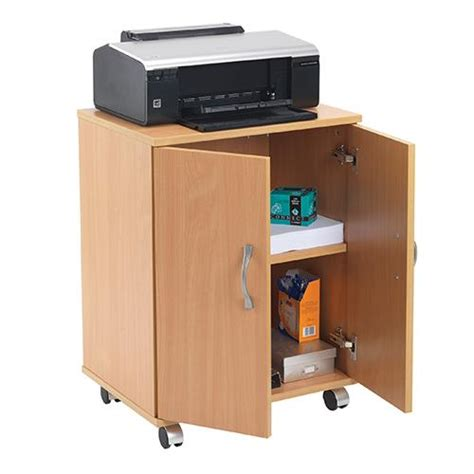 printer storage cabinet buy essentials portable pc printer storage stand beech