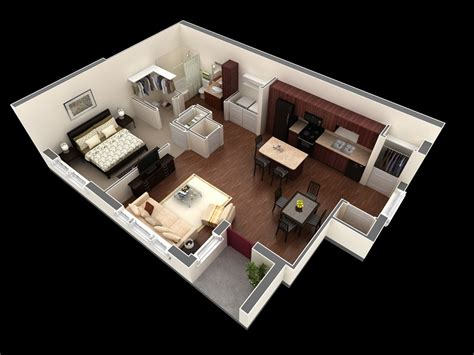 A Apartment One 1 Bedroom Apartment House Plans