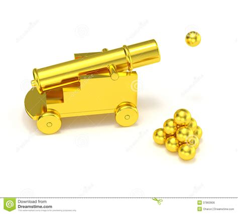 golden house miniature gold toy stock illustration golden miniature cannon cannonball royalty free stock