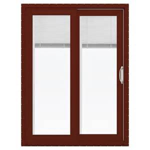 Sliding Patio Door With Blinds Between Glass Shop Jeld Wen V 4500 59 5 In Blinds Between The Glass Mesa Vinyl Sliding Patio Door With