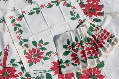vintage christmas linens lot holiday print cotton
