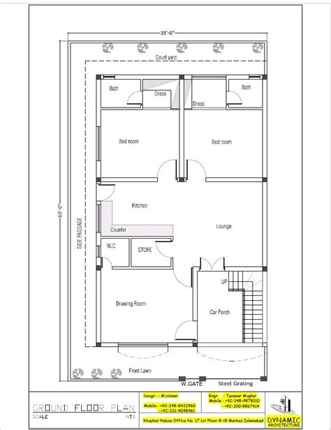 40x80 house plan house plan drawing 35x60 islamabad design project pinterest plan drawing house and photo wall